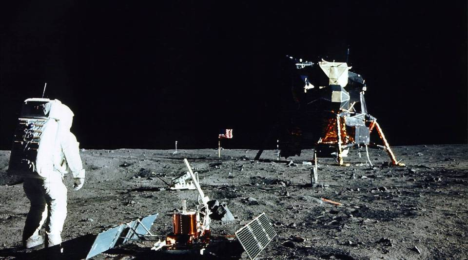 Astronaut Edwin E. Aldrin Jr., Lunar Module Pilot, stands near a scientific experiment on the lunar surface. Man's first landing on the Moon occurred July 20, 1969.