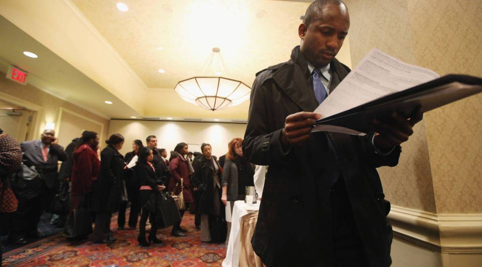 Employment seekers attend the JobExpo employment fair in New York City.