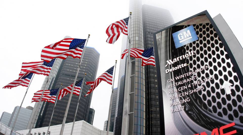 The General Motors (GM) world headquarters in Detroit, Mich. General Motors' move to cut pensions costs is likely to copied by other companies struggling with underfunded plans for retirees.