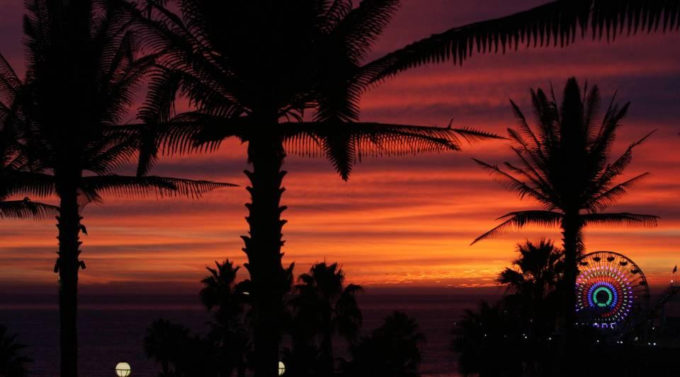 Sunset at Santa Monica Beach.