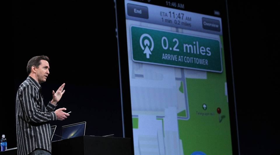Apple Senior VP of iPhone Software Scott Forstall demonstrates the new map application featured on iOS 6.