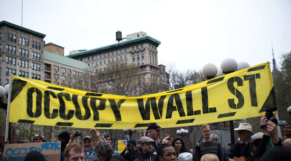 An Occupy Wall Street banner is seen in Union Square at the end of a march from Zuccotti Park to Union Square on in New York City.