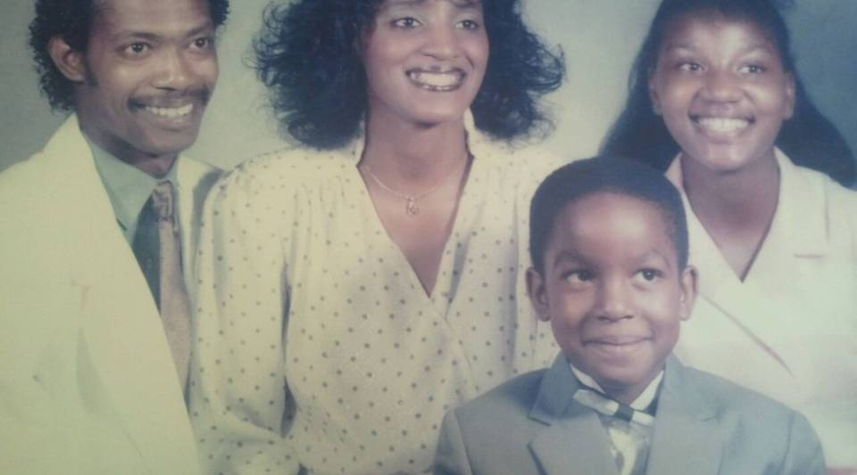 Young Wade Davis with his parents and sister.