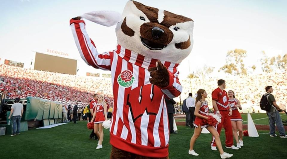 UW-Madison mascot Bucky Badger waves a rally towel during the 2012 Rose Bowl football game between the University of Wisconsin-Madison Badgers on Jan. 2, 2012.