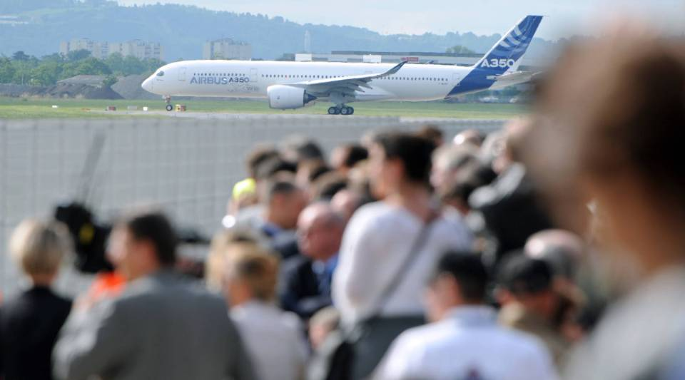 Airbus's next-generation A350 plane about to take off from Toulouse-Blagnac airport, southwestern France, on its first test flight on June 14, 2013.