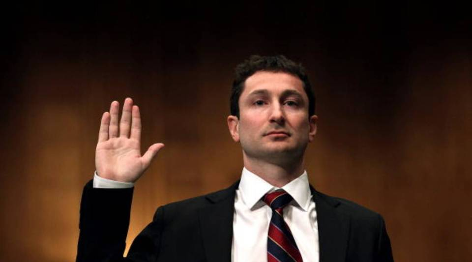 Fabrice Tourre (L), executive director of the structured products group trading for The Goldman Sachs Group, is sworn in while testifying before the Senate Homeland Security and Governmental Affairs Investigations Subcommittee on Capitol Hill on April 27, 2010 in Washington, D.C.