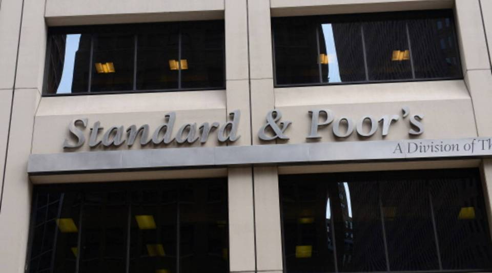 Standard & Poor's rating agency company headquarters in New York.