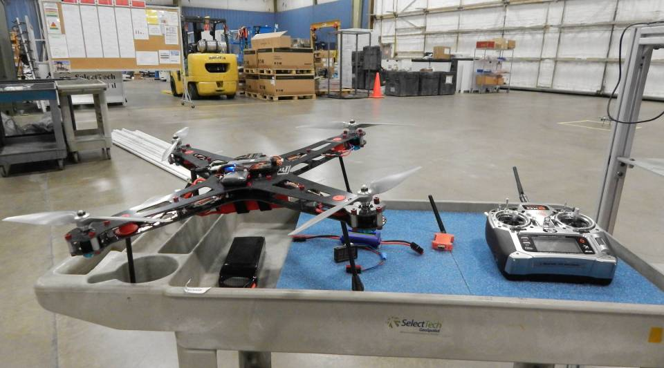 A test drone ready for flight at SelectTech Geospatial, a small high-tech manufacturer in the city of Springfield, Ohio.