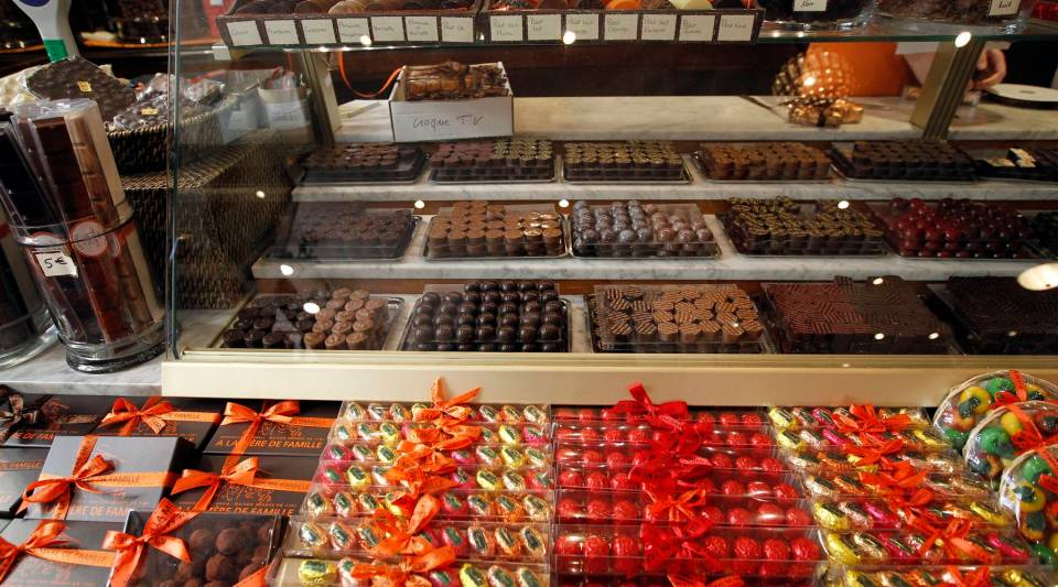 A partial view taken on November 23, 2011 in Paris shows chocolate and sweets displayed at the Mere de famille chocolate shop.