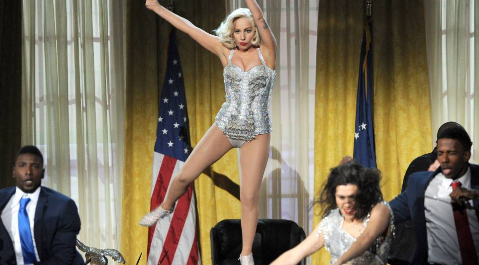 Singer Lady Gaga performs onstage. According to data, her audience was probably full of Democrats.