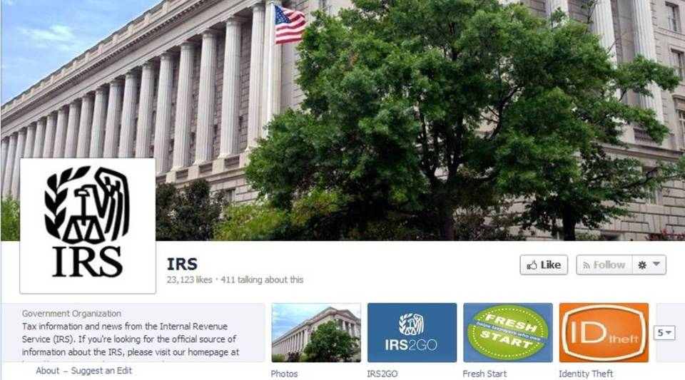 """The IRS has 22,000 """"likes"""" on Facebook."""