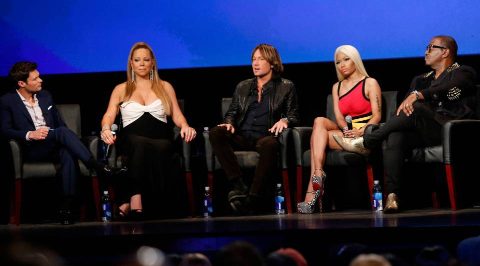 Television personality Ryan Seacrest, singer Mariah Carey, musician Keith Urban, singer Nicki Minaj, and television personality Randy Jackson onstage during a live Q&A at the season premiere screening of Fox's 'American Idol' at Royce Hall, UCLA on Jan, 9, 2013,