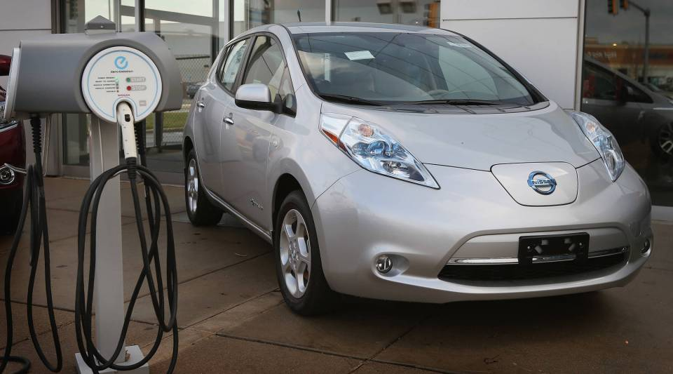 A Nissan Leaf electric vehicle is displayed at Star Nissan on December 3, 2012 in Niles, Illinois.
