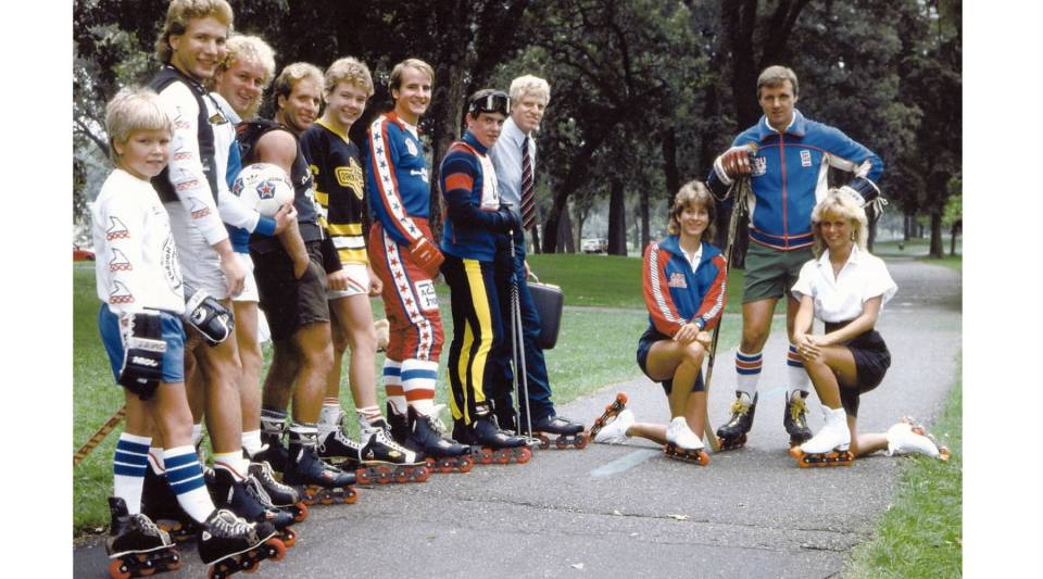 Scott Olson (second from left), the Rollerblade revolutionizer, sports his Rollerblades with his family and friends.