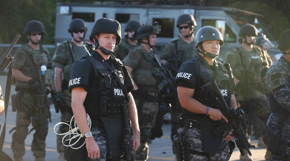 Heavily equipped police responding to protests in Ferguson last week. Images and video of the events spreading on social media have brought this story to national and international prominence.