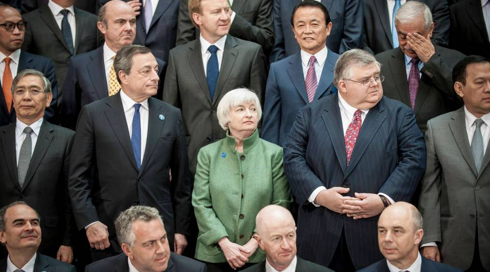 Federal Reserve Chair Janet Yellen during the International Monetary and Financial Committee family photo at the IMF/World Bank Spring meetings.