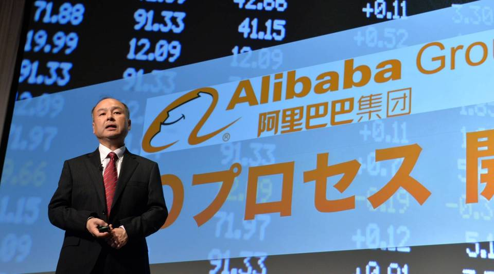 Japan's mobile communication giant Softbank president Masayoshi Son announces the company's financial result ended in March in Tokyo on May 7, 2014. Softbank is also the company which owns the chinese e-commerce giant Alibaba, who yesterday, May 6, 2014, finally filed its IPO.