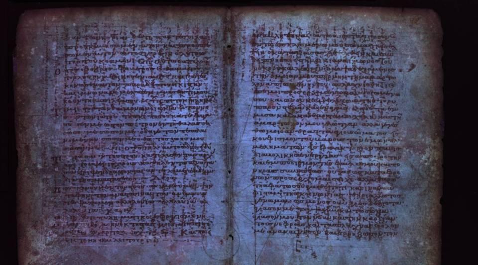 Pages out ofThe Archimedes Palimpsest, a medieval parchment manuscript, now consisting of 174 parchment folios.