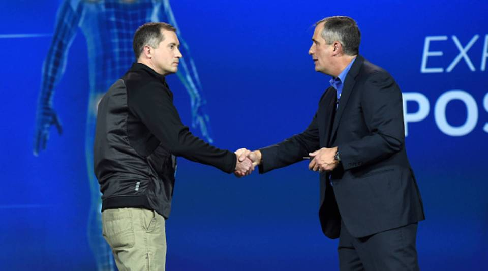 Intel CEO Brian Krzanich, right, and employee Darryl Adams at this year's Consumer Electronics Show.