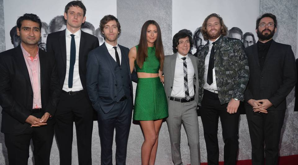 Actors Kumail Nanjiani, Zach Woods, Thomas Middleditch, Amanda Crew, Josh Brener, T.J. Miller and Martin Starr attend the Premiere of HBO's 'Silicon Valley'