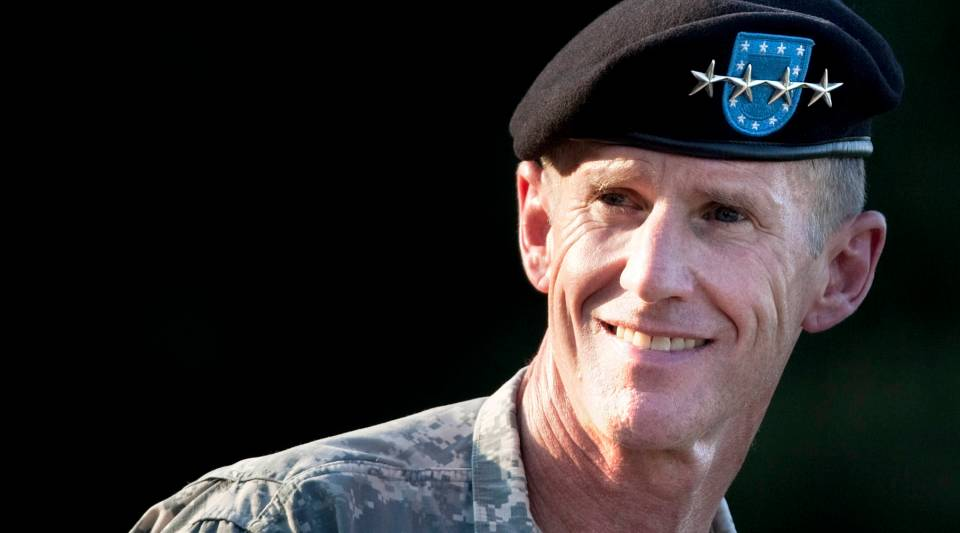 U.S. Army Gen. Stanley McChrystal smiles while speaking during his retirement ceremony at Fort McNair on July 23, 2010 in Washington, D.C.