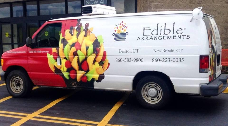 An edible arrangements delivery truck.