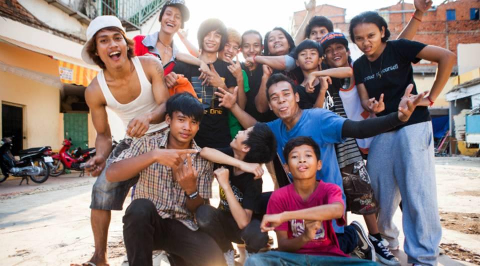 Breakdancers in Cambodia.