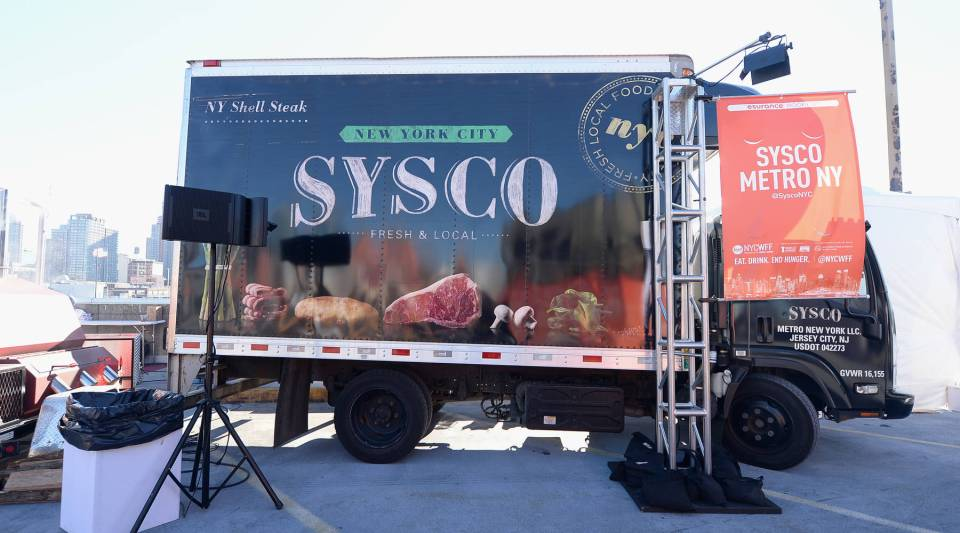 A Sysco truck was on display in New York City. The FTC worries a merger with U.S. Foods would create a monopoly in the food distribution market.