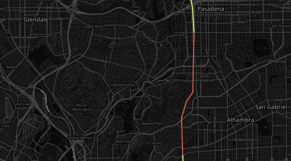 The gap between the 710 and 210 freeways near Los Angeles.