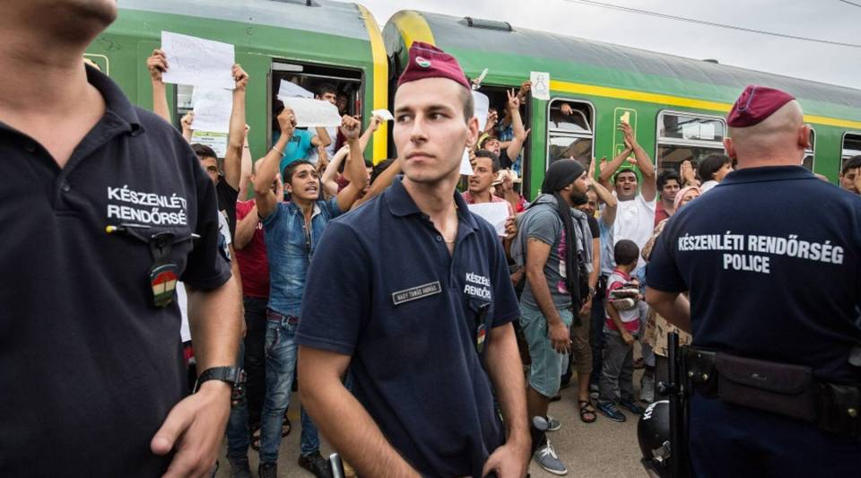 Migrants protest against being taken to a refugee camp from a train that has been held at Bicske station on September 3, 2015 in Bicske, near Budapest, Hungary.