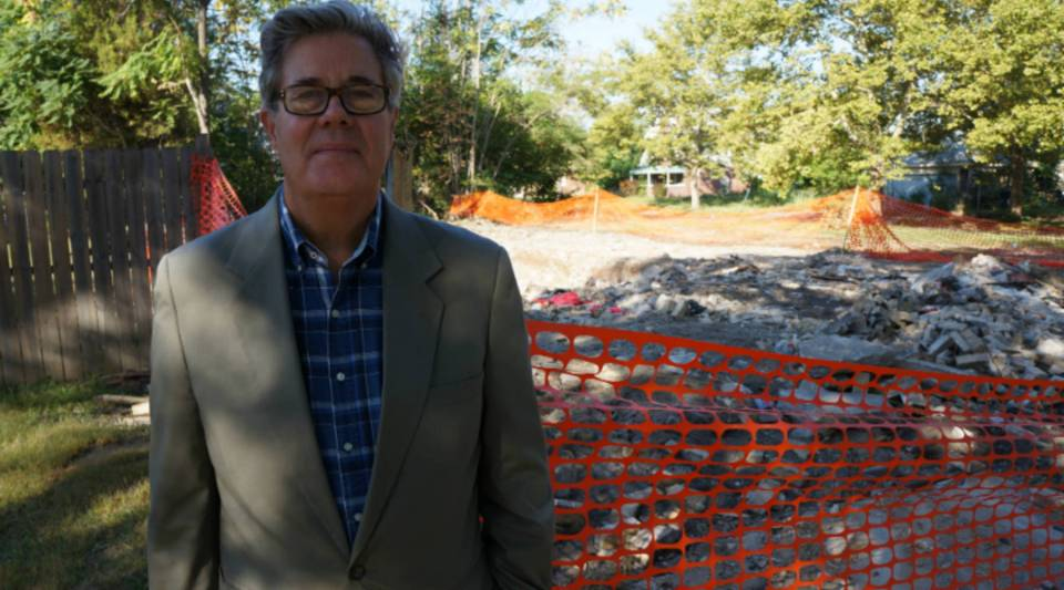 David Maraniss in front of the home in which he spent the first six years of his life. It's now a pile of rubble.