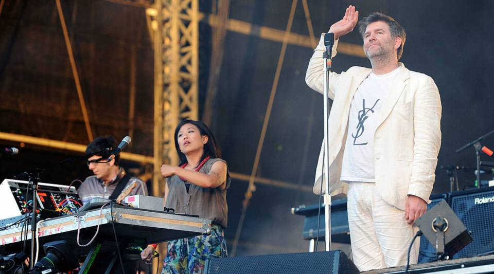 Nancy Whang and James Murphy of LCD Soundsystem performs live on the Main Stage during Day 2 of the Wireless Festival in Hyde Park on July 3, 2010 in London, England.
