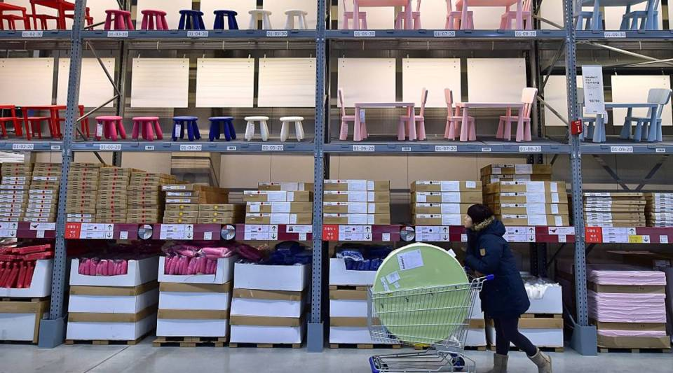 A shopper looks around at Ikea.