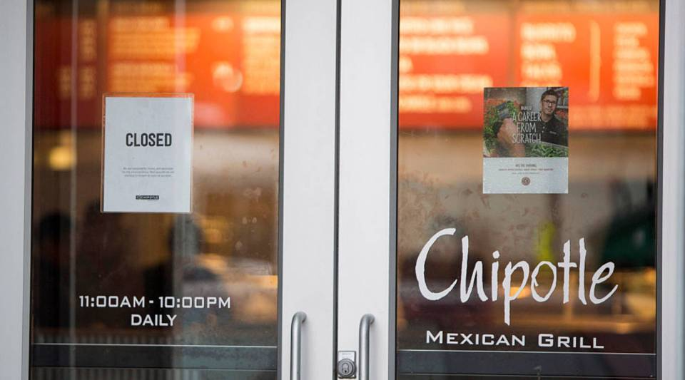 A sign showing a Chipotle Mexican Grill in Boston, Massachusetts, which closed on December 8, 2015 after 80 students at Boston College had gotten sick from eating at the fast food chain. On Monday, February 8, 2016, Chipotle will close for lunch to review food-safety protocols with employees.