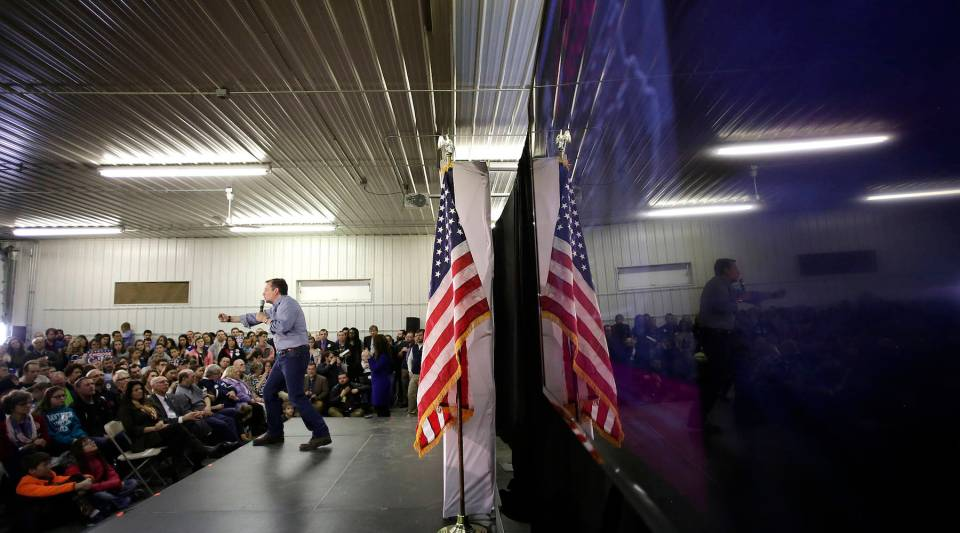 Republican presidential candidate Ted Cruz speaks during a campaign event at the Johnson County Fairgrounds January 31, 2016 in Iowa City, Iowa.