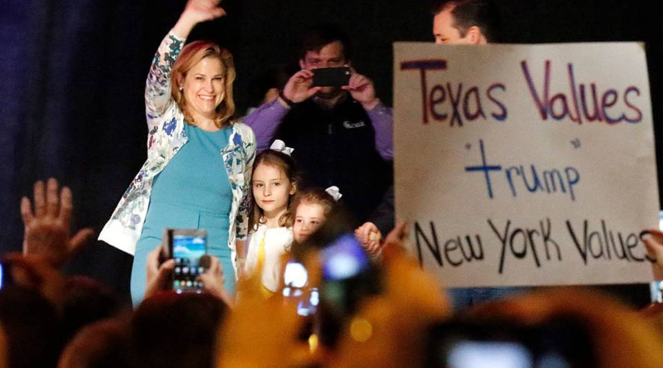 Heidi Nelson Cruz, wife of Republican presidential candidate Sen. Ted Cruz (R-TX) waves on stage at Gilley's Dallas the day before Super Tuesday February 29, 2016 in Dallas, Texas. Candidates have spread themselves out over the U.S. in the lead up to Super Tuesday where twelve states will hold primary voting.