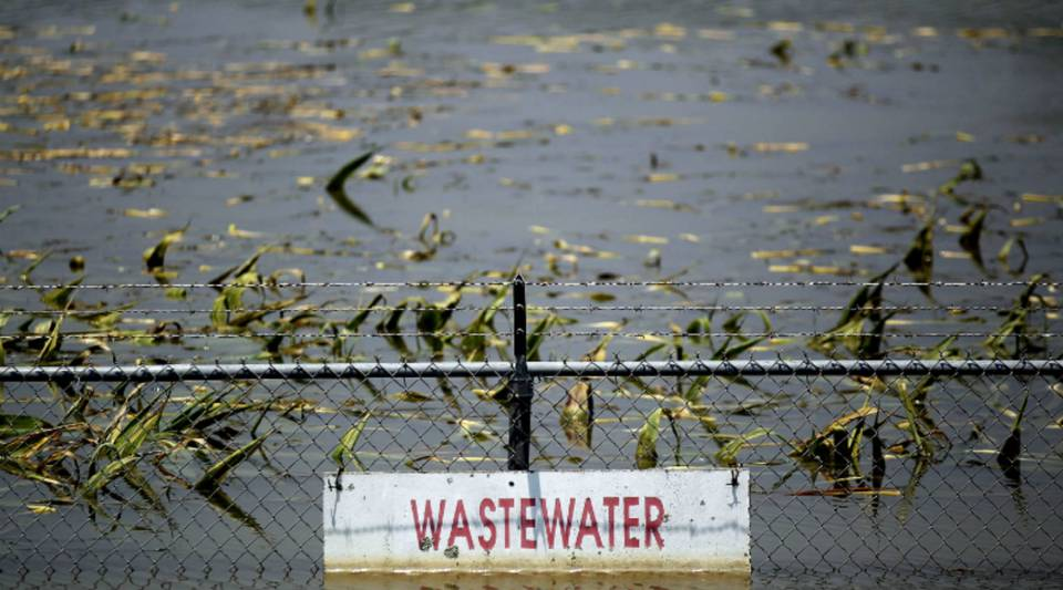 A wastewater treatment plant is inundated by the Yazoo River floodwaters near Yazoo City, Mississippi.