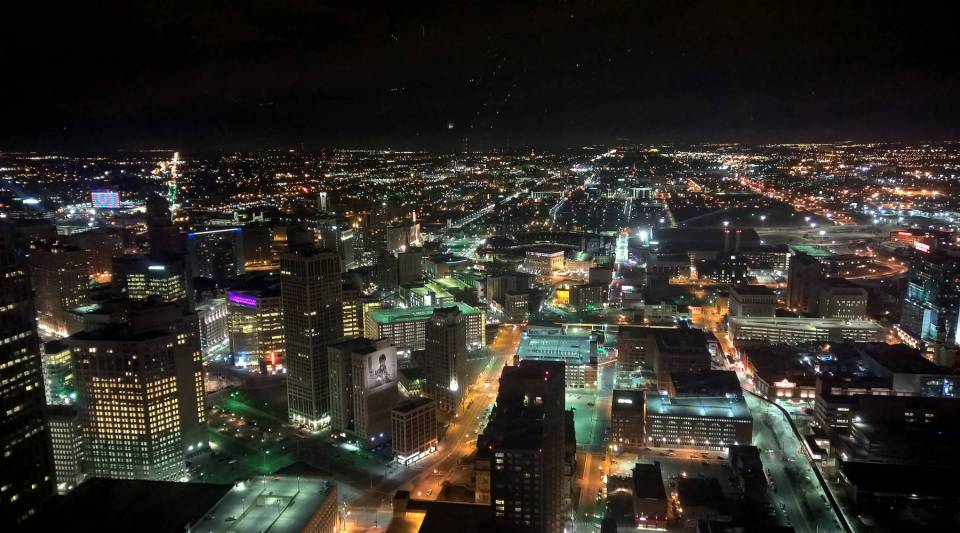 Downtown Detroit at night.