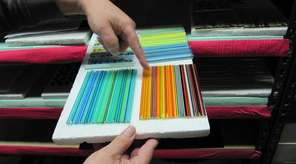 Bullseye Glass is known for products that fuse together reliably, and for its rainbow of colors.  But now, fewer colors are available.