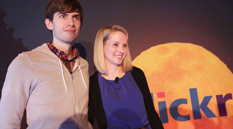 Tumblr founder David Karp stand while posing after a news conference with Yahoo! CEO Marissa Mayer following Yahoo!'s acquisition of Tumblr in Times Square on May 20, 2013 in New York City. Yahoo! purchased the blogging site Tumblr for $1.1 billion.