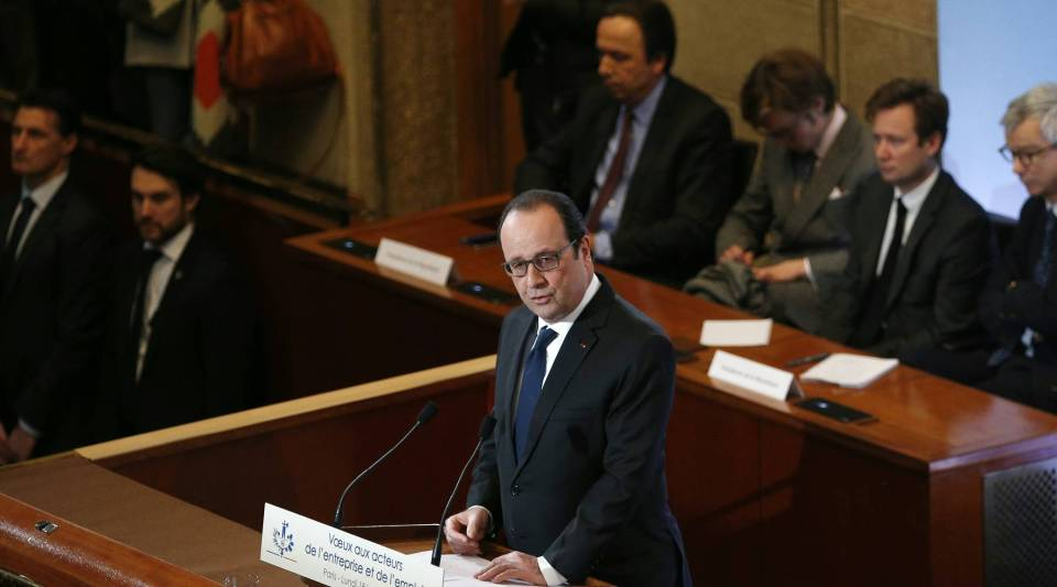 Francois Hollande delivers his speech as he presents his New Year wishes to Employment and Unions forces at the Economic, Social and Environemental Council in Paris, on January 18, 2016. With the unemployment rate in France at 10 percent, Hollande's newest proposal may make changes that may include getting rid of the 35-hour work week.