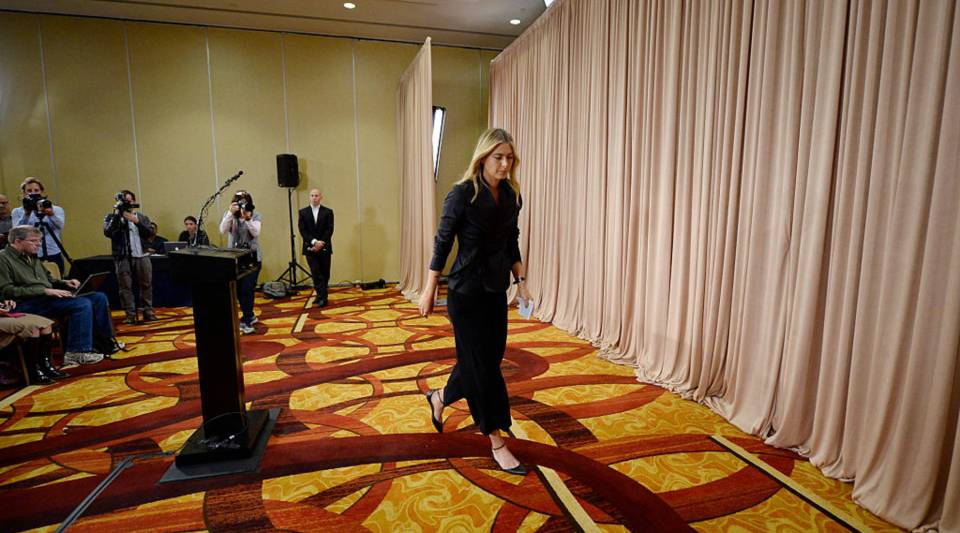 Tennis player Maria Sharapova addresses the media regarding a failed drug test at the Australian Open at The LA Hotel Downtown on March 7, 2016 in Los Angeles, California.