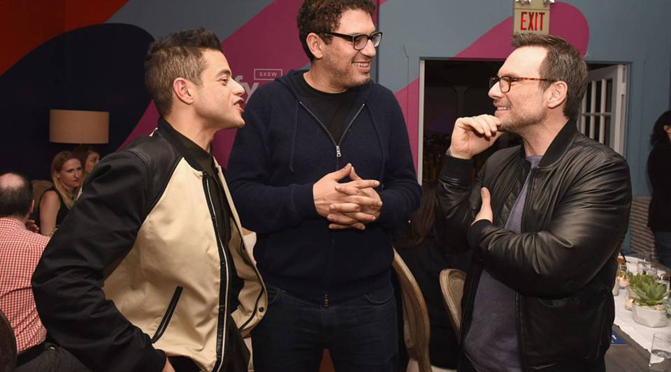 (L-R) Actor Rami Malek, writer/producer Sam Esmail and actor Christian Slater attend a dinner celebrating Mr. Robot at the Spotify House in Austin, TX during the SXSW festival.