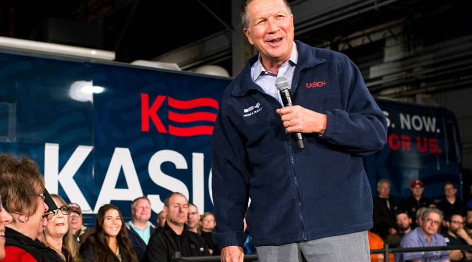 Republican presidential candidate Ohio Gov. John Kasich speaks to supporters at a town hall meeting at Brilex Industries, Inc. on Monday in Youngstown, Ohio.