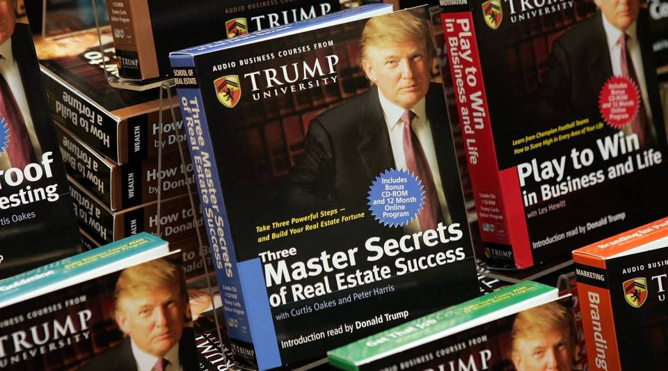 Copies of 'How To Build Wealth,' which is a series of nine audio business courses created by Trump University, lie on display at a Barnes & Noble store in 2005. The organization currently faces a class-action lawsuit from unhappy customers.