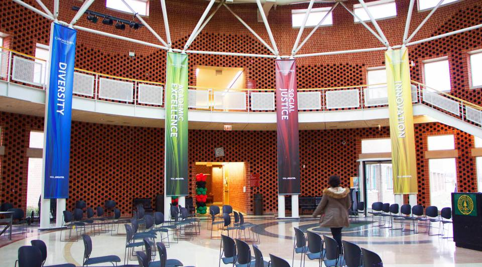 Inside the Chicago State University student union, where banners for a recent gathering highlight some of the schools core values.