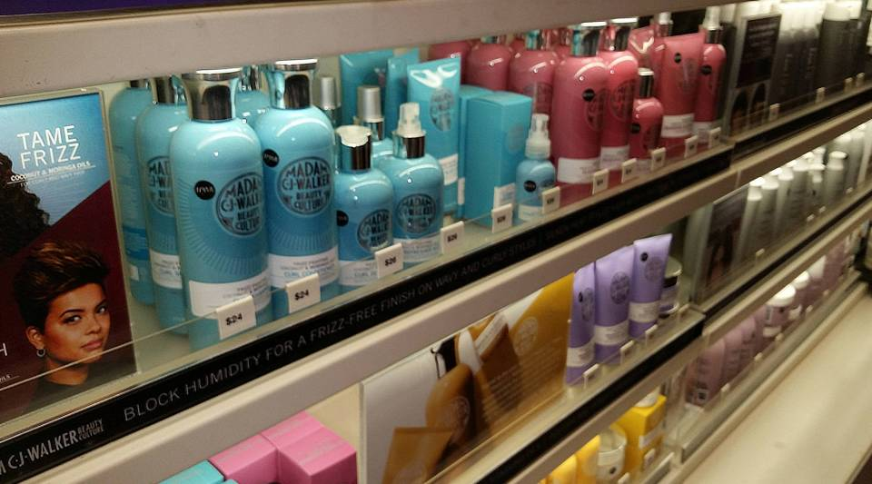 Madam CJ Walker products displayed at Sephora.
