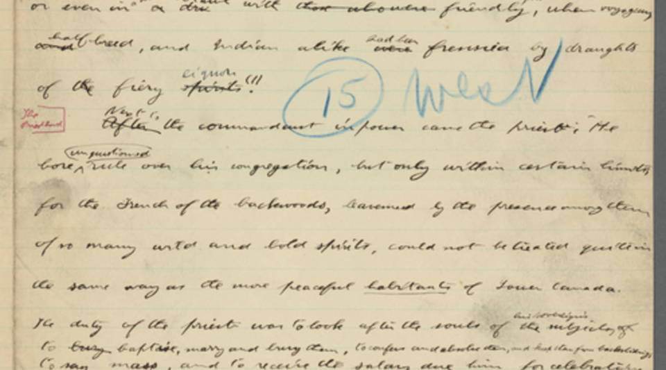 """A page from the 1889 manuscript of Theodore Roosevelt's """"The Winning of the West,"""" which is in the New York Public Library's digitized (and actual) collection."""