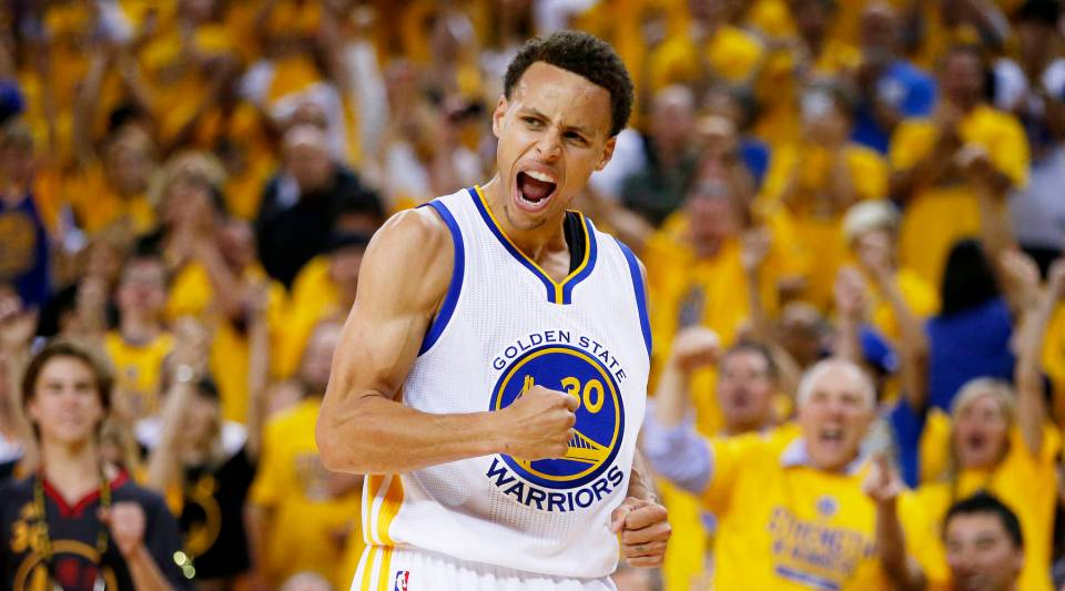 Stephen Curry celebrates in a game against the Cleveland Cavaliers last year.