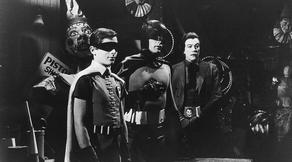 "Burt Ward as Robin, Adam West as Batman and Cesar Romero as The Joker, in a still from the 1960s ""Batman"" TV show, 1967."
